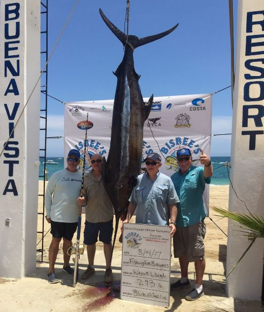 Dean Ettinger and Wayne Usiak and Jay Geasling and Carter Hollis and Jack Whitmore Blue Marlin at Bisbees Buenavista.