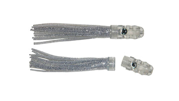 Transparent silver 4½ inch 11cm trolling lure with scent chamber.