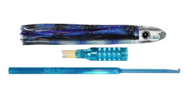 Blue Flying Fish skirted trolling lure nano bullet head 6 inch 15cm.