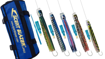 Billfish rigged game fishing lure pack three spread.
