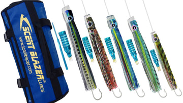 Marlin rigged game fishing lure pack 4 fishing spread.