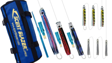 Small Tuna game fishing lure rigged lure spread.