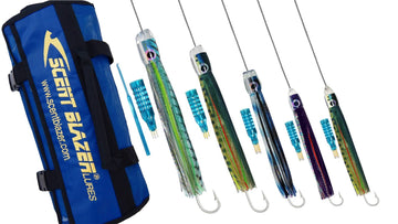Wahoo Game Fishing Lure Pack 9 rigged with wire.