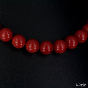 Necklace in white gold, Sardinian Coral and Diamonds