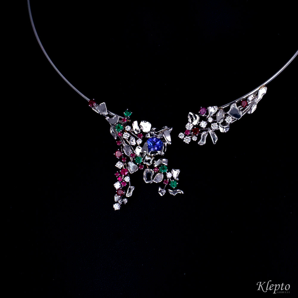 Collier in white gold harmonic with Tanzanite, Rubies, Emeralds, Rhodolites and Diamonds