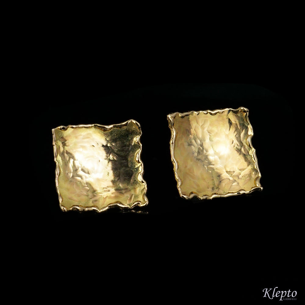 Rectangular Teresina yellow gold earrings