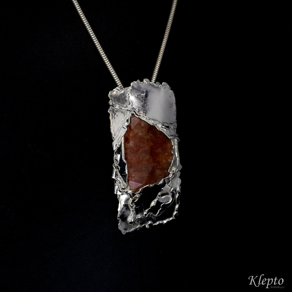 Silnova Silver Ring with rutilated Quartz and yellow gold details
