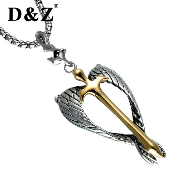 Religious Gold Cross Pendant Necklace Stainless Steel Silver Angel Wings