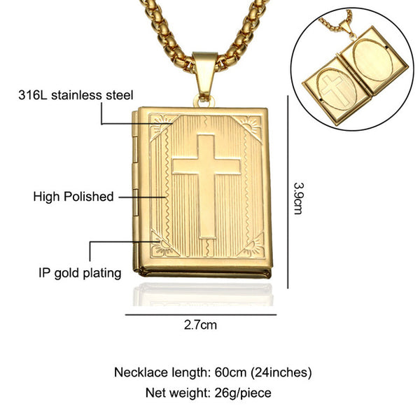 Vintage  Bible Cross Memory Locket Necklace