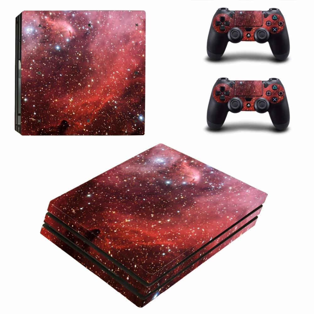 Stickers Ps4 Pro Galaxy Rouge