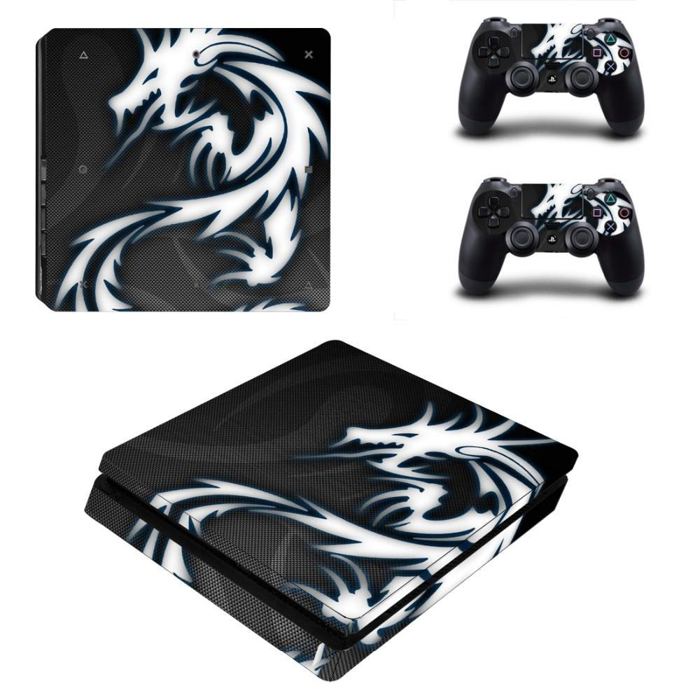 Stickers Ps4 Slim Dragon Blanc