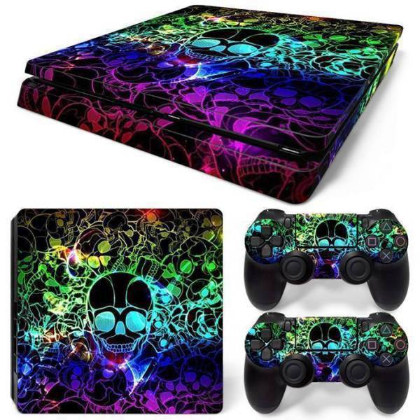 Stickers Ps4 Slim <br> Tête de Mort Multicolore