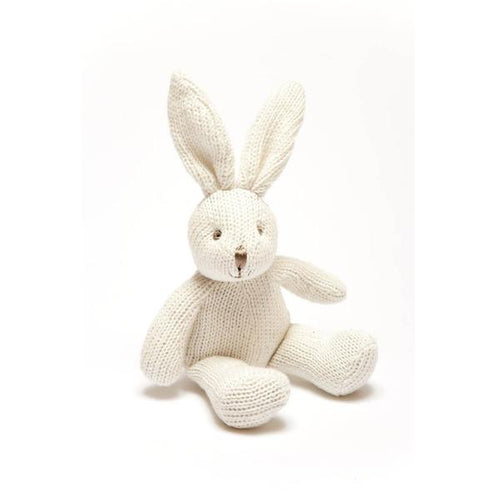 Best Years Knitted Organic Cotton White Bunny Rattle from Cotton and Cuddles