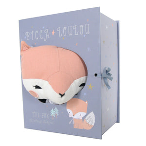picca loulou linen pink fox in gift box from cotton and cuddles