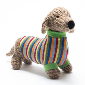 Best Years Knitted Sausage Dog with Stripe Jumper from Cotton and Cuddles