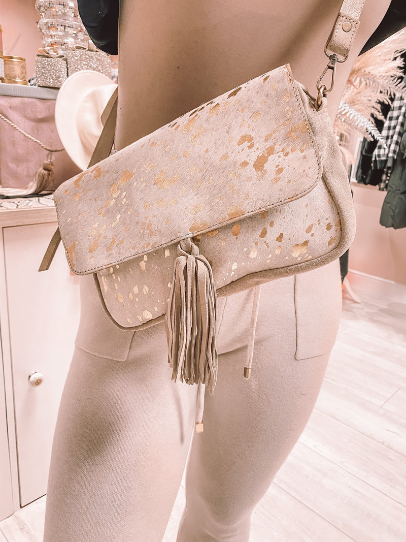 Leather gold foil cross body