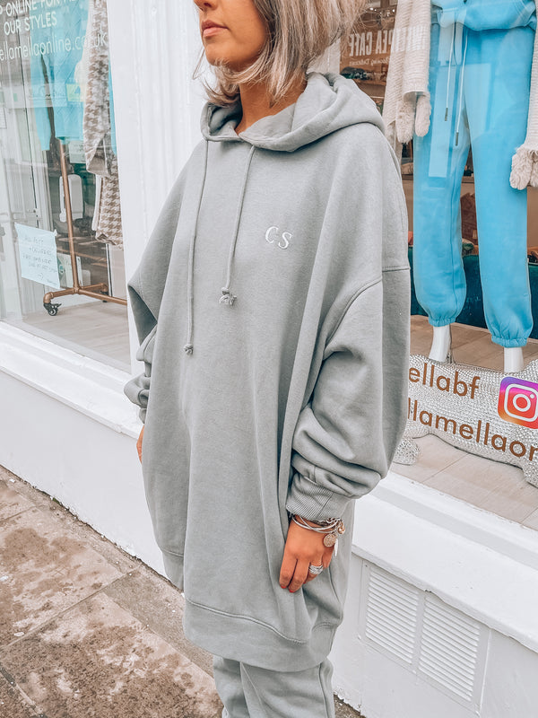 PM Luxe Grey Oversized Hoodie Jumper