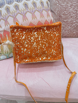 Orange gold foil cross body
