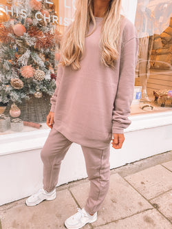 PM Luxe Mauve Oversized Tunic Jumper