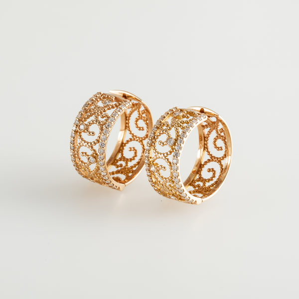 Gold Diamond Dots Earrings