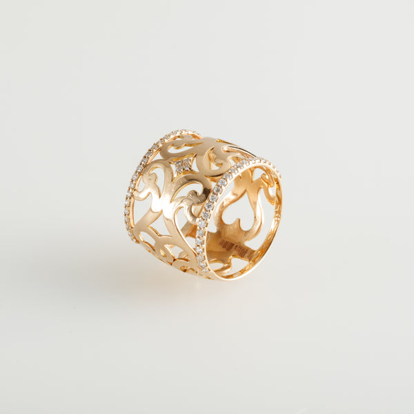 Gold Wide Frontispiece Ring
