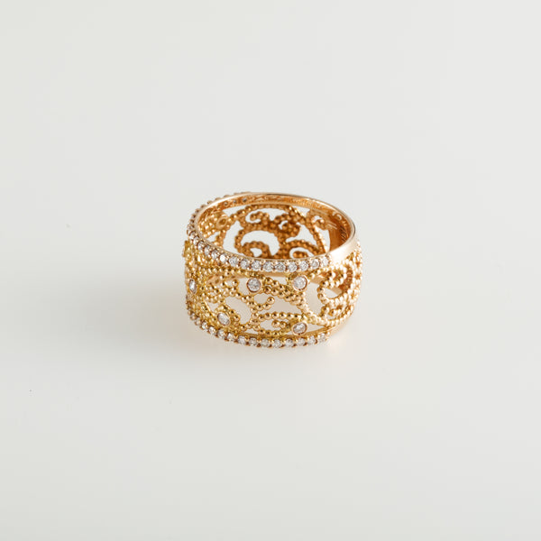 Gold Diamond Dots Ring