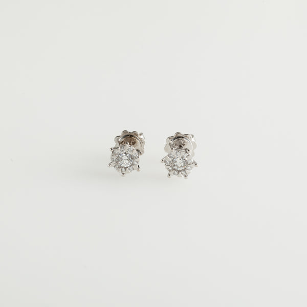 White Gold Flake Earrings