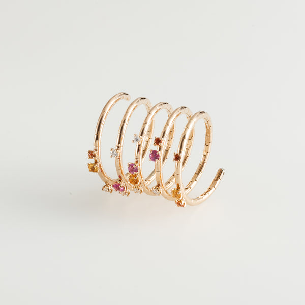 Sapphires Spiral Ring