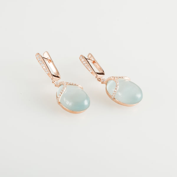 Dusty Blue Cat Eye Faberge Earrings