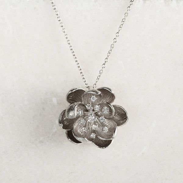 White Peony Diamond Necklace