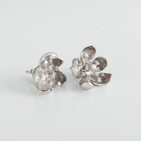 White Peony Diamond Earrings