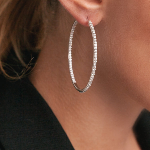 Diamond Hoops Earrings-Comercianti De Diamante