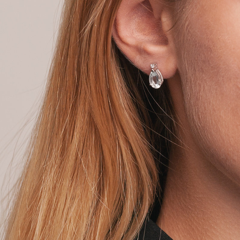 Aquamarin Droplet Earrings-Comercianti De Diamante