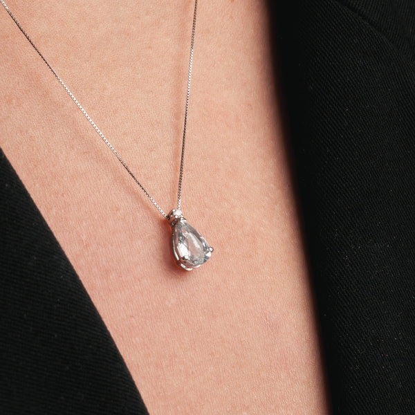 Aquamarin Droplet Necklace-Comercianti De Diamante