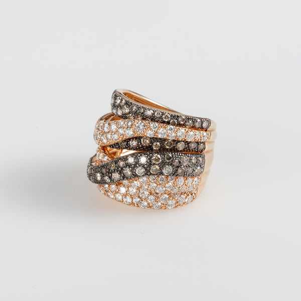 Overlapped Diamonds Ring