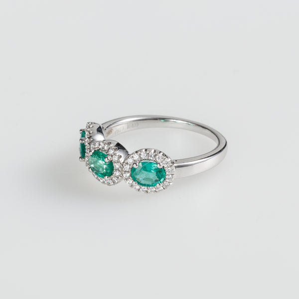 Three Emerald Sparkle Ring