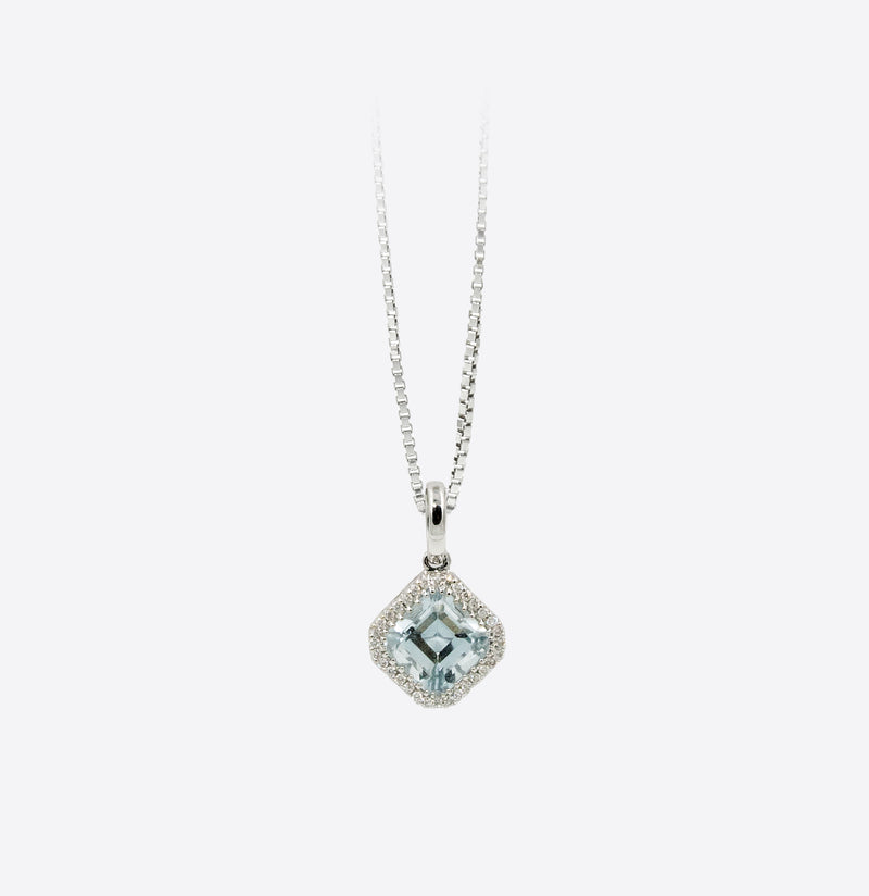 Colier Diamonds Square Cap cu Aquamarin