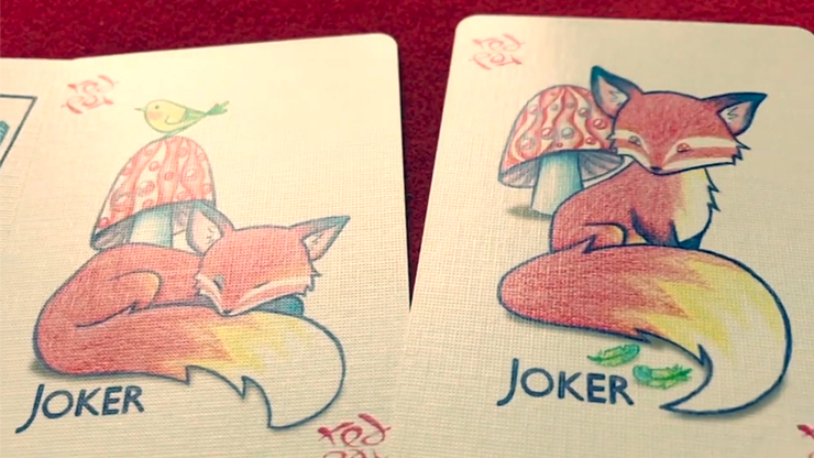 Red Fox Purple Playing Cards