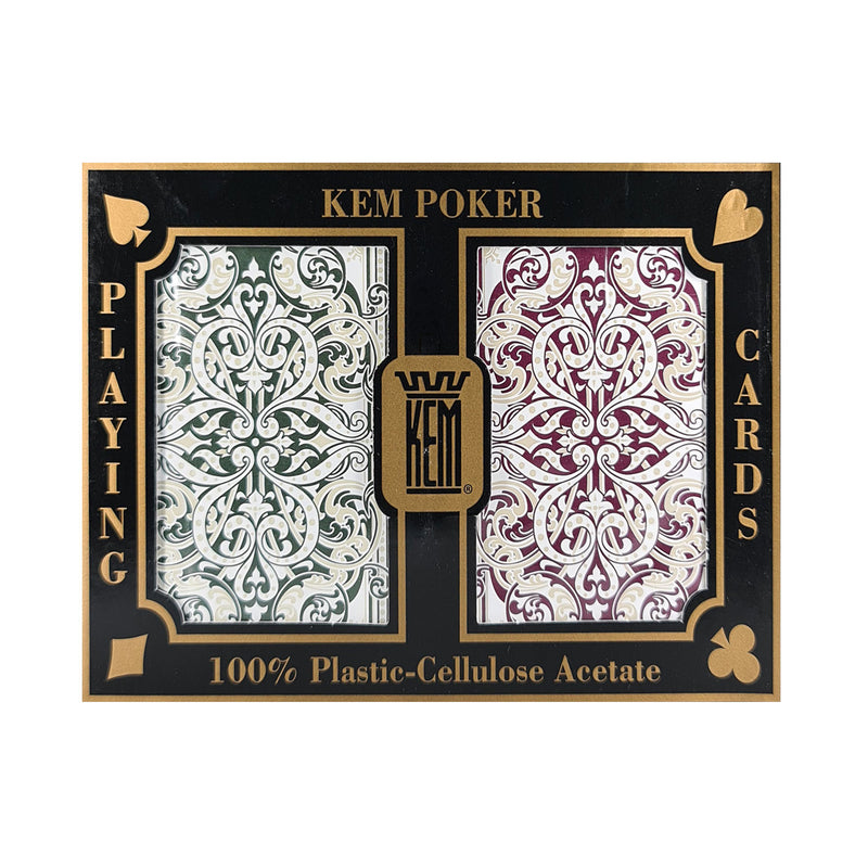 Kem Jacquared Purple and Green Jumbo Index (Plastic) Playing Cards