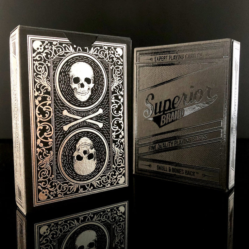 Superior Split Spades Black Skull and Bones Playing Cards