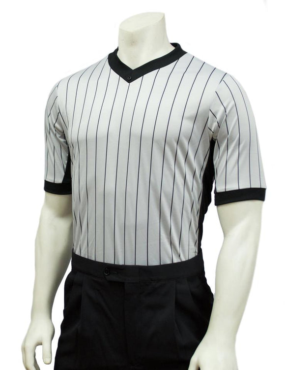 Smitty Grey Elite Performance Interlock V-Neck Shirt w/Black Pinstripe and Side Panel