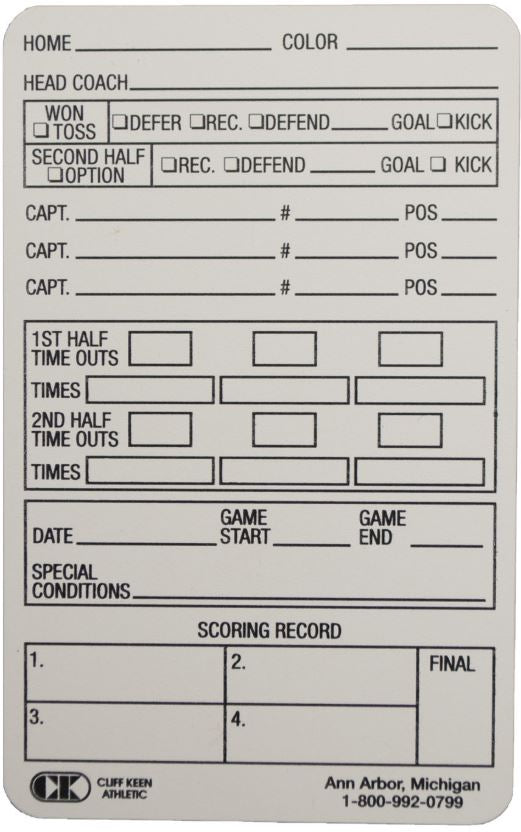 Cliff Keen Reusable Football Information Card