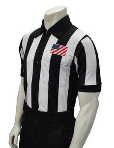 "Smitty 2 1/4"" Stripe Short Sleeve Football Shirt w/Flag over Pocket"