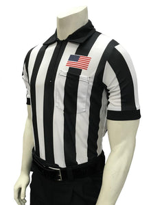"Smitty 2"" Stripe Short Sleeve Football Shirt w/Flag over Pocket"