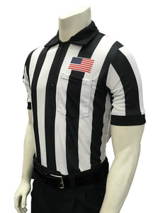 "Smitty ""Body Flex"" 2"" Stripe  Short Sleeve Football Shirt w/Flag over Pocket"