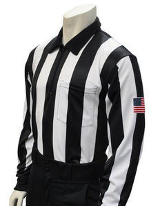 "Smitty 2 1/4"" Stripe Long Sleeve Football Shirt w/Flag on Sleeve"