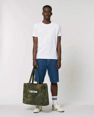 LARGE UNISEX CANVAS CAMO PRINT SHOPPING BAG - customisable embroidered text