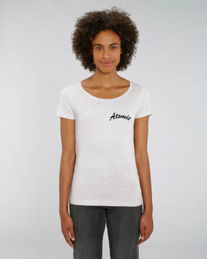 'ATOMIC' EMBROIDERED WOMEN'S MEDIUM FIT ORGANIC COTTON T-SHIRT
