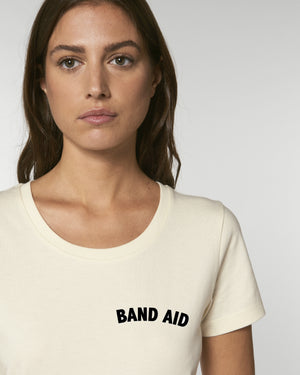 'BAND AID' EMBROIDERED WOMEN'S FITTED ORGANIC COTTON T-SHIRT