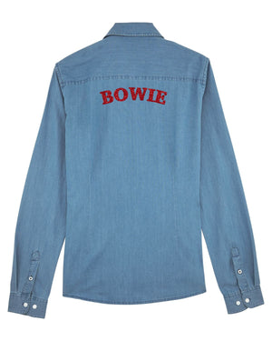 'BOWIE' METALLIC THREAD EMBROIDERED WOMEN'S ORGANIC COTTON 'INSPIRES' FADED DENIM SHIRT